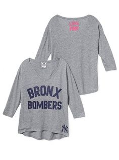 New York Yankees Long-sleeve Drapey Tee - Victoria's Secret Pink® - Victoria's Secret $24.50