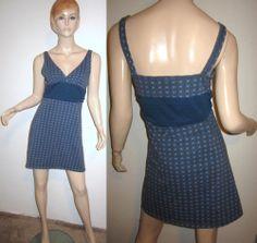 PATAGONIA Organic Cotton Stretch Teal Print Mini A Line Dress XL
