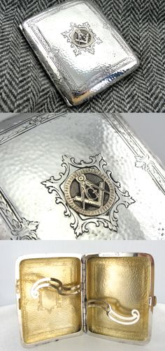 Art Deco Sterling Silver and Masonic Emblem Cigarette Case from the 1920s
