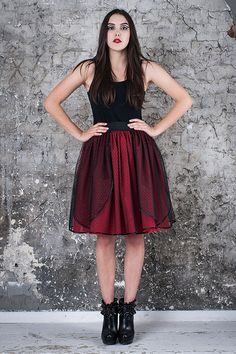Tulle claret skirt tutu dots black tulle with dot от MagdalenaMol