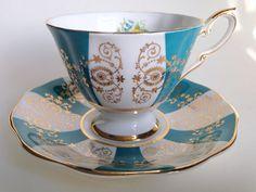 Türkis Gold weiß Royal Standard Teetasse und Untertasse, englische Teetassen, Bone China Tasse und Untertasse, Tee-Set, Aqua Teetasse, Teetassen