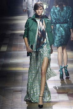 Lanvin Metallic green and gold print drop waist maxi dress with green jacket. #ss14
