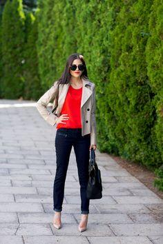 dark jeans, red/orange top, short trench, nude pumps
