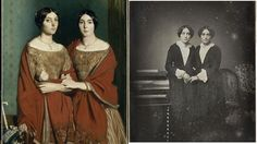 "Théodore Chassériau, The Two Sisters, c. 1845, oil on canvas, Louvre,  (Right) Anon., Portrait of Twin Sisters, c. 1848, colored daguerreotype, Musée d'Orsay. © Painting and Photography: 1839–1914 by Dominique de Font-Réaulx, Flammarion, 2013  her book allows 19th C. French painting finally to allow its ""mistress"" photography to come out of the closet and recreates the controversy between photography and painting itself as it played out in the galleries, studios, and in the images…"