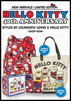 5cc0ef7e3 Hello Kitty 40th Anniversary styles by Loungefly Loves Hello Kitty  available at http://