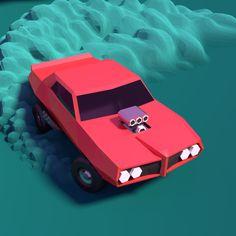 Low poly drift Pontiac GTO 1969 on Behance