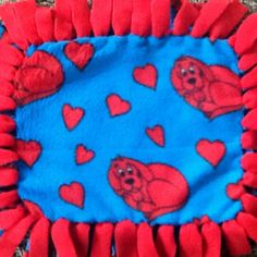 This blanket is perfect for the little toddler who loves clifford and hearts!! Little ones love this size mini tag blanket, because it's so easy to carry around. Shop here: https://www.etsy.com/listing/292124759/clifford-fleece-tag-tie-blanket?ref=shop_home_active_4 #simpleesweetboutique #taggieblanket