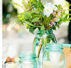 TheKnot.com - Light Teal Jars for centerpieces