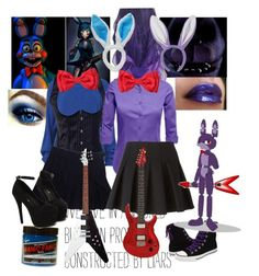 """""""Bonnie fnaf (taaag sett~"""" by red-foxess-and-wolf ❤ liked on Polyvore featuring moda, Freddy, Manic Panic, LE3NO, American Apparel, Alexander Wang y Converse"""