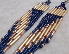 Blue seed bead earrings long earrings fringe earrings colorful earrings bold…