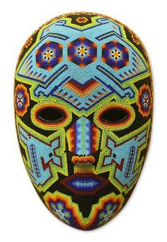 This handmade creation is offered in partnership with NOVICA, in association with National Geographic. The hands of Higinio Hernandez transform tiny chaquira beads into beautiful and glossy motifs adh South American Art, Paper Mache Mask, Mexico Culture, Masks Art, Indigenous Art, Mexican Folk Art, Bead Art, Art Lessons, Blue