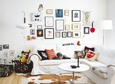 I love this photo wall.  Why not add a scroll?  WHY NOT I SAY?