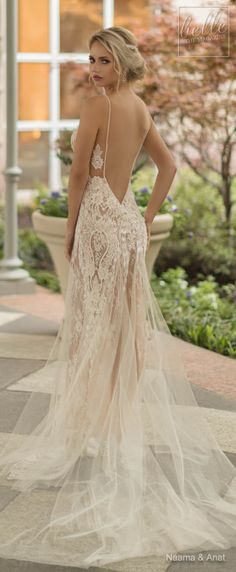 Naama and Anat Wedding Dress Collection 2019 - Dancing Up the Aisle - SALSA lace fitted bridal gown with deep back and spaguetti straps #weddingdress #weddingdresses #bridalgown #bridal #bridalgowns #weddinggown #bridetobe #weddings #bride #weddinginspiration #weddingideas Find your dream dress by clicking on the photo