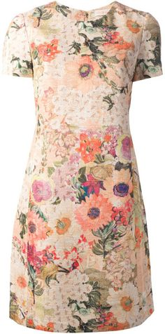Tory Burch Floral Print Dress in Floral (yellow  orange) - Lyst
