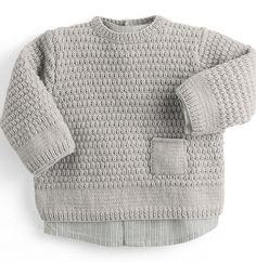 Knitting For Kids, Baby Knitting, Knitting Patterns, Crochet Patterns, Baby Vest, Lana, Knit Crochet, Men Sweater, Pullover