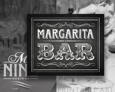 Chalkboard Sign Printables / MARGARITA BAR / Sign Downloads, Chalkboard Wedding Signs, Chalk Party Signs BWC33 by MNINEPrintables on Etsy
