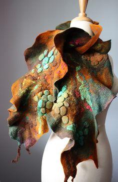 Fiber and Textile, Svitlana, Artist, Silk Woodland series, Felted Art Scarf, wool