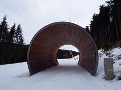 Milchkannentunnel auf der Lella-Abfahrt am Mönichkirchner Schwaig (c) Schischaukel Mönichkirchen-Mariensee GmbH Alps, Austria, Winter, Outdoor, Beautiful, Ski Resorts, Ski, Winter Time, Outdoors