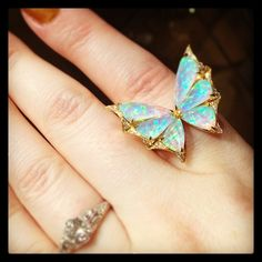 This little beauty won an immediate place on my all time faves list. By @stephenwebsterjewellery. #jewelry #finejewelry #instabling #butterfly #opals #diamonds #rings #cocktailrings