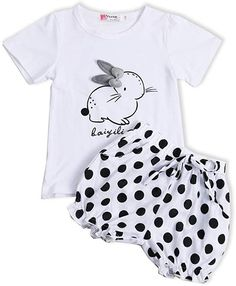 Easter Outfit Newborn Baby Boy Happy Easter Cute Bunny Short Sleeve T-Shirt and Stripe Pants Clothes Set 2PCS