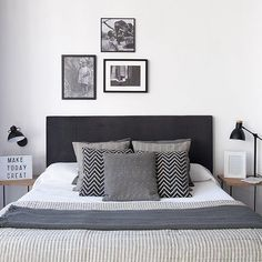 Trendy ideas for room decor cama gris Guest Bedroom Decor, Home Bedroom, Modern Bedroom, Black Bedroom Furniture, Small Master Bedroom, My New Room, Home Decor Inspiration, Design Inspiration, Apartment Living