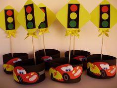 Centro de mesa dos Carros para festinhas - Dicas pra Mamãe