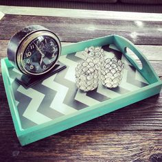 Home decor wood serving tray in teal with grey and white chevron, colorful home accent, Chevron print home decor,