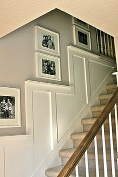 8 Inventive Tips AND Tricks: Types Of Wainscoting Wall Treatments stained wainscoting staircases.Wainscoting Staircase Newel Posts craftsman wainscoting board and batten. Wainscoting Wall, Wainscoting Styles, Wainscoting Kitchen, Staircase Remodel, Staircase Makeover, Stair Walls, Moldings And Trim, Moulding, Crown Moldings