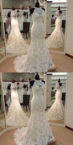 71fb1bb6fde High Neck Lace Applique Mermaid Wedding Dresses Sleeveless Bridal Dresses