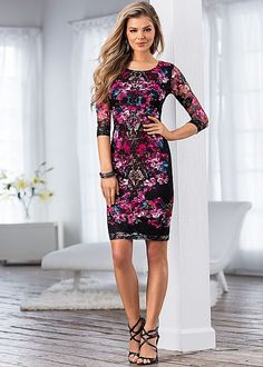 Floral print lace dress in the VENUS Line of Dresses for Women