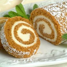 Pumpkin roll: My favorite fall dessert! My sister in law, Erinn, makes the best pumpkin roll I've ever tasted! Pumpkin Recipes, Fall Recipes, Holiday Recipes, Pumpkin Logs Recipe, Pumpkin Roll Filling Recipe, Pumpkin Cheesecake Roll Recipe, Top Recipes, Skinny Recipes, Cream Recipes
