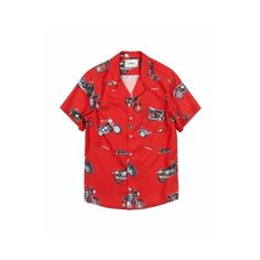 KNAVE - 16ss MOTORCYCLE ALOHA SHIRT RED ❤ liked on Polyvore featuring tops, shirts, shirt top, red shirt, red top and motorcycle shirts