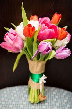 Ramo de novia con Tulipanes multicolores