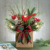 Rustic Lighted Cardinal Christmas Floral Centerpiece; $14.99