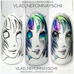 Anime Nails, New Nail Art, Beautiful Nail Designs, Almond Nails, Projects To Try, Photo Wall, Shapes, Cartoon, Manga