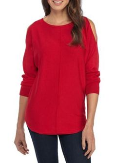 New Directions Women's Long Cold Shoulder Sleeve Rounded Hem Sweater - Radiant Red Csi 631 - Xl