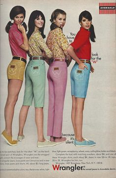 Wrangler ad featured in Seventeen, 1967 60s And 70s Fashion, Seventies Fashion, Retro Fashion, Vintage Fashion, Ad Fashion, Vintage Dresses, Vintage Outfits, Vintage Ads, 1960s Dresses