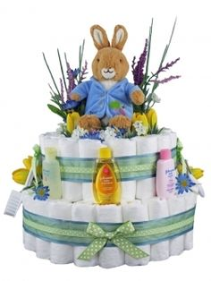 bunny diaper cake with lavender accents