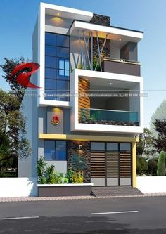 Rc Visualization is a growing Plan & Elevation Designing company. We are expert in architectural Planning, Elevation Designs, interior designs and realistic renderings. Narrow House Designs, Modern Exterior House Designs, Modern House Facades, Modern House Plans, Modern House Design, 3 Storey House Design, Bungalow House Design, House Front Design, Small House Design