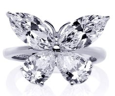 Mixed Cut Butterfly Diamond Ring  1 carat total weight in 14K White Gold   WOW! my-style