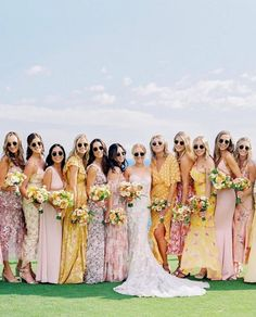 """100 Layer Cake on Instagram: """"The future's so bright, I gotta wear shades ⚡️Swipe for some seriously cool wedding sunnies and let us know - would you rock a pair of…"""" Wedding Attire, Chic Wedding, Wedding Styles, Wedding Dresses, Wedding Details, Mismatched Bridesmaid Dresses, Bridesmaid Flowers, Bridesmaids, Bridesmaid Gowns"""