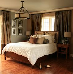 Curtains across the entire wall...instead of headboard in bedroom  Home By Heather Draper
