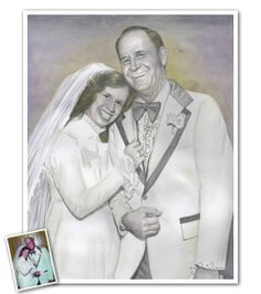 Hand Drawn DaVinci Sketch from Photos - If you're looking for an outstanding anniversary gift for your parents.you don't have to look any further. Our DaVinci sketch will make over their wedding photos with a soft, antique feel. 50 Wedding Anniversary Gifts, Sketch Paper, Cool Sketches, Oil Paintings, Photo S, Hand Drawn, 50th, Fine Art Prints, How To Draw Hands