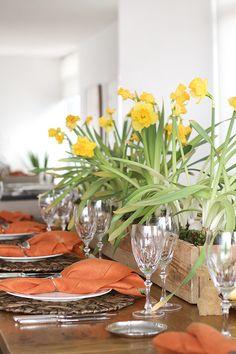 Decoração para um almoço de Páscoa - mesa posta em amarelo e laranja - arranjo central de narcisos - coelhos peludinhos, ninho e ovos