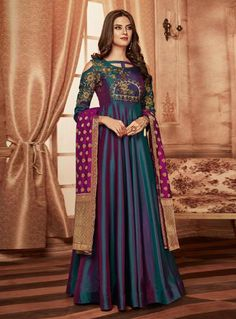 Ethnic Wear Fantastic Teal Shaded Silk Designer Anarkali Suit VJV Fashions has a wonderful collection of Ethnic Wear salwar suits, designer salwar kameez Designer Anarkali, Designer Salwar Kameez, Designer Kurtis, Designer Gowns, Indian Salwar Kameez, Robe Anarkali, Costumes Anarkali, Silk Anarkali Suits, Abaya Style