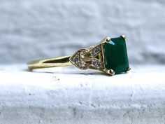 Vintage Inspired 18K Yellow Gold Diamond and Emerald Engagement Ring Wedding Ring.