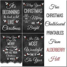 Free Christmas Chalkboard Printables - Alderberry Hill