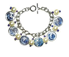 BLUE WILLOW CHARM BRACELET SILVER PLATED WITH PLATE PATTERN GLASS COVERED CHARM DROPS -- Visit the image link more details.