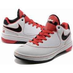 Nike Air LeBron EE X Mid Basketball Shoes White/Black/Red AML-130 via Polyvore