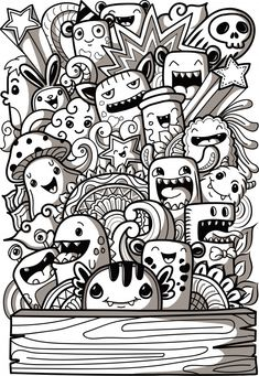 3 Doodle Monster Coloring Pages Cute Doodle Art, Doodle Art Designs, Doodle Art Drawing, Art Drawings Sketches, Cute Drawings, Doodle Art Simple, Easy Doodles Drawings, Doodling Art, Doodle Doodle
